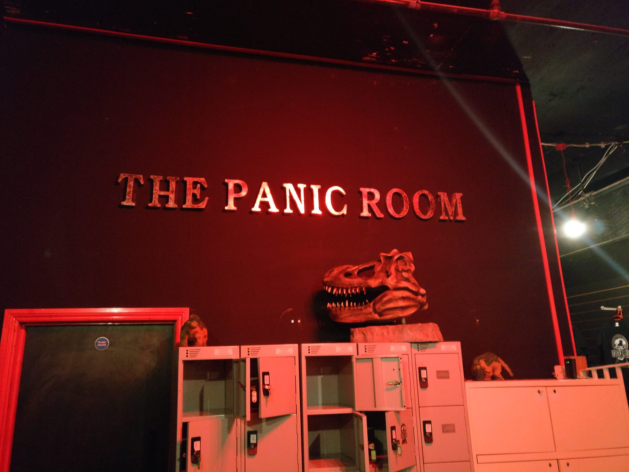 Panic Room foyer with dinosaur head