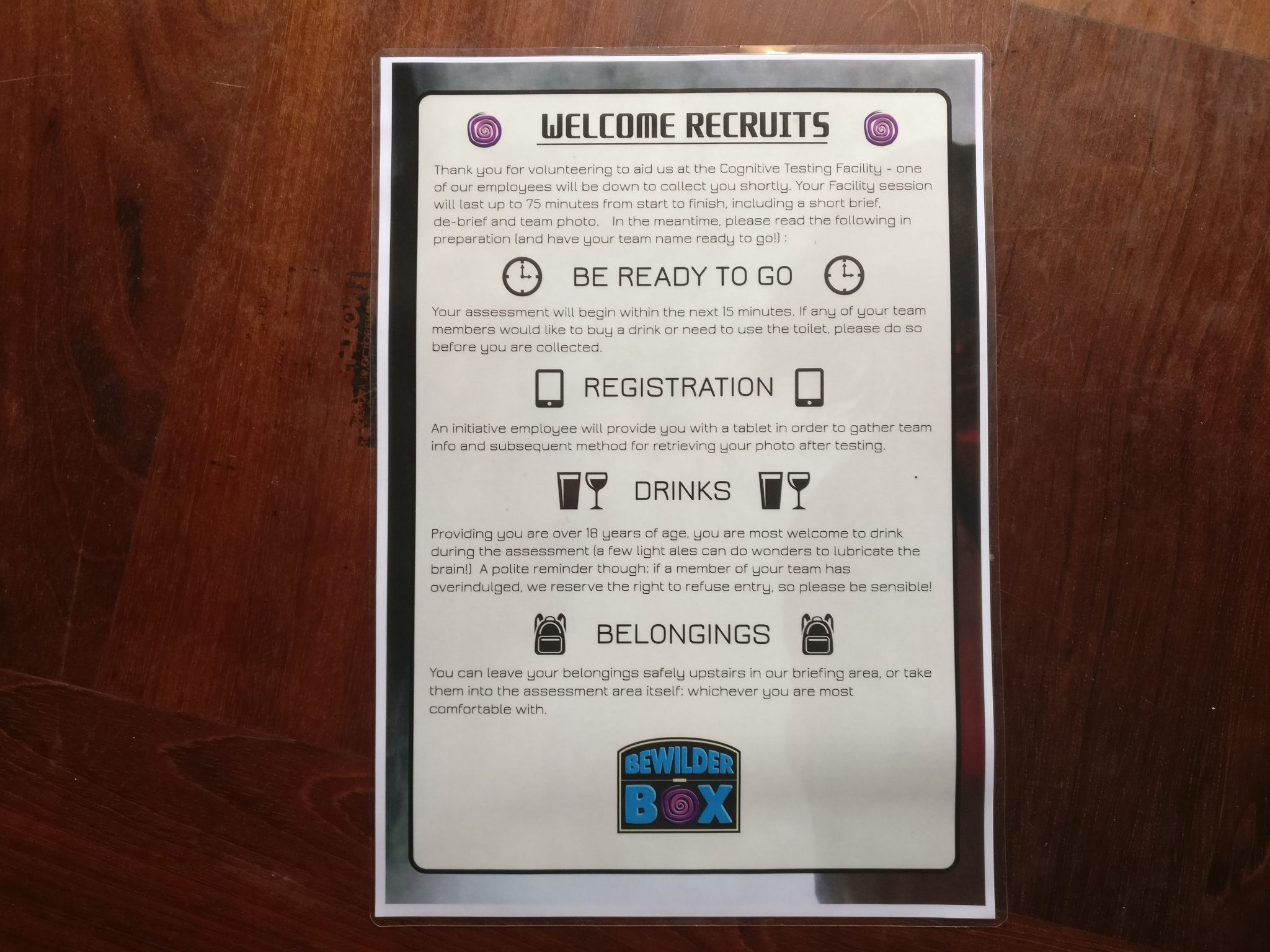 Bewilder Box welcome sheet