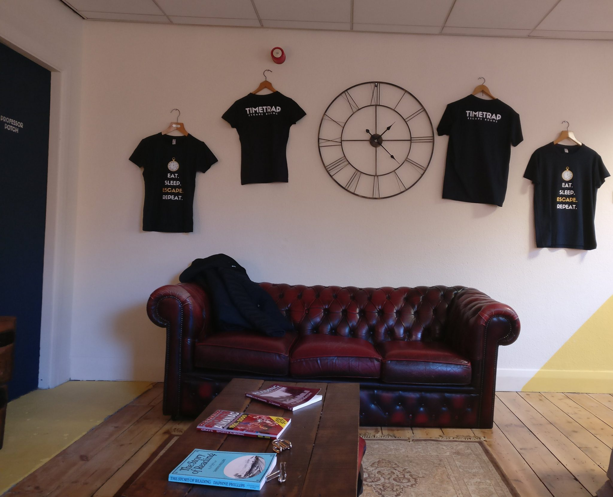 The lobby area with t-shirts for sale